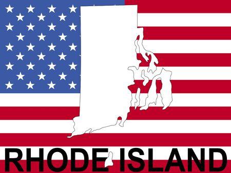 map of Rhode Island on American flag illustration illustration