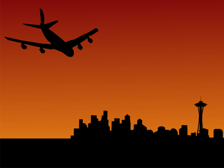 four engine plane flying towards Seattle at sunset