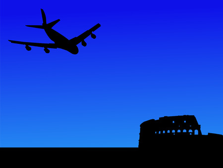 colloseum: four engine plane flying towards Colosseum Rome