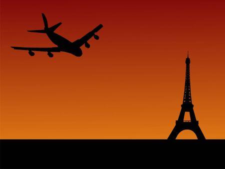 four engine plane flying towards Eiffel tower in Paris Stock Photo - 1455587
