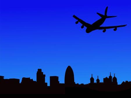 gherkin building: plane arriving in London