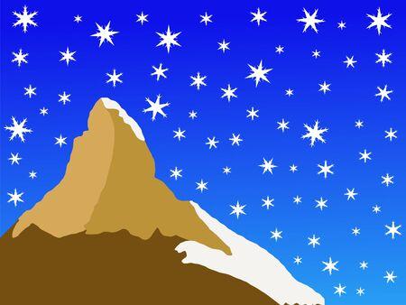 Matterhorn peak Switzerland in winter with falling snow Stock Photo - 1455597