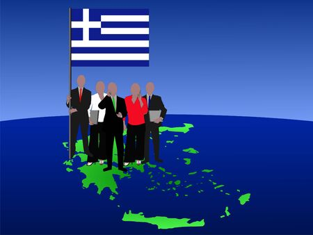 Greek business team with map and flag illustration
