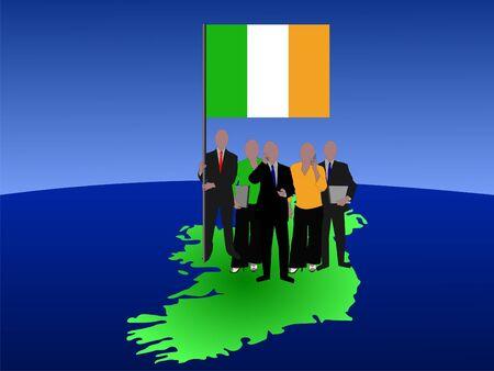 irish map: Irish business team with map and flag illustration Stock Photo