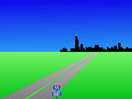 motorway: Chicago Skyline and interstate 55 illustration