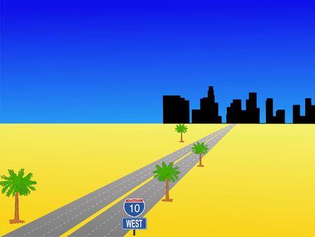 angeles: Los Angeles skyline and interstate 10 illustration