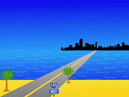 motorway: Miami Skyline and interstate 195 illustration Stock Photo