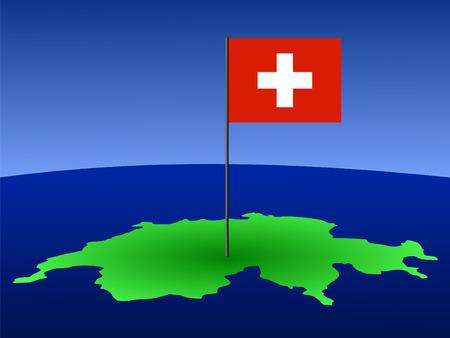 map of Switzerland and Swiss flag on pole illustration illustration