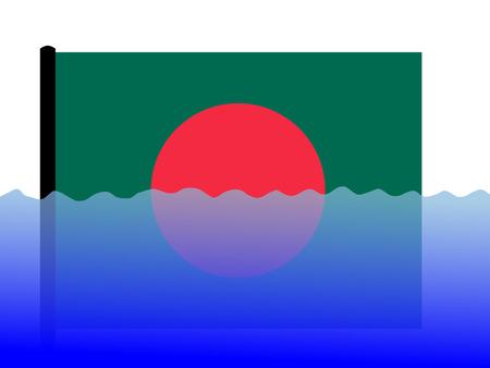 bangladeshi flag submerged during flood Stock Photo