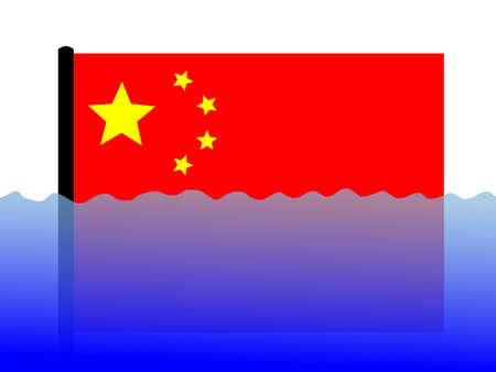sumergido: Pabell�n chino sumergidas durante las inundaciones  Foto de archivo
