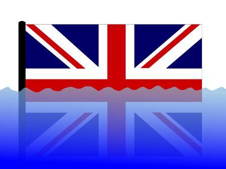 submerged: British flag submerged during flood