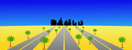 Los Angeles skyline and multiple highways with palm trees