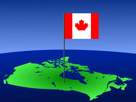 map of Canada and Canadian flag on pole illustration illustration