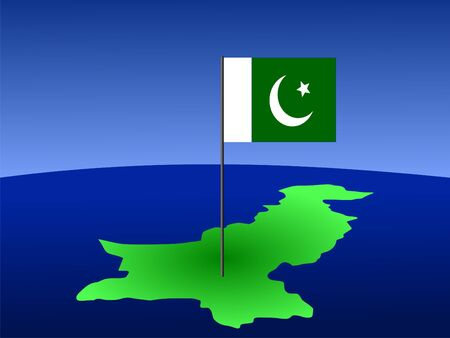 pakistani pakistan: map of Pakistan and Pakistani flag on pole illustration
