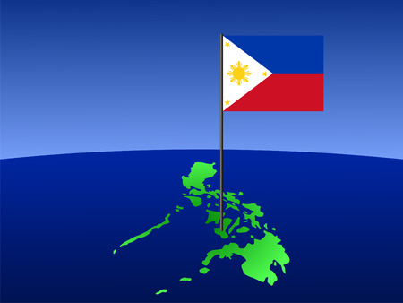 philippines: map of Philippines and filipino flag on pole illustration