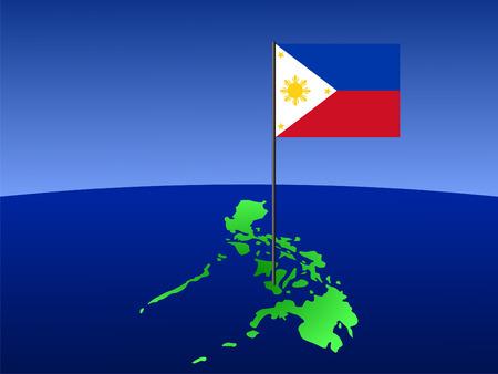 filipino: map of Philippines and filipino flag on pole illustration