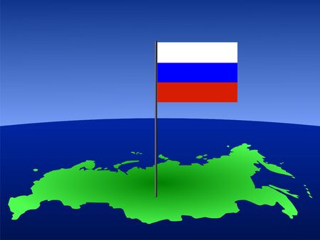 realm: map of Russia and Russian flag on pole illustration