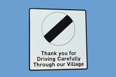 drive safely: Thank you for driving safely through village sign