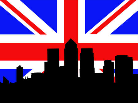 canary wharf: London Docklands Skyline and flag Stock Photo