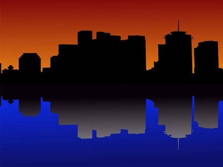 downtown New Orleans skyline reflected in Mississippi River at sunset photo