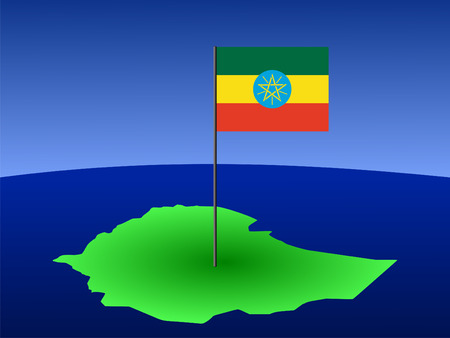 map of Ethiopia and Ethiopian flag on pole illustration illustration