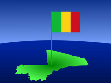 map of mali and their flag on pole illustration illustration