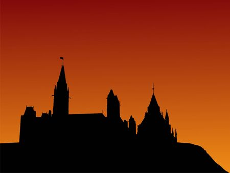 Canadian parliament at sunset with beautiful sky illustration illustration