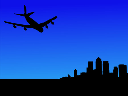 wharf: four engine plane arriving at London Docklands Skyline Stock Photo