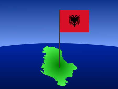albanian: map of Albania and Albanian flag on pole illustration