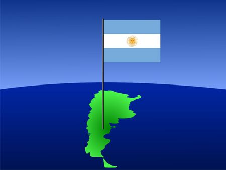 argentinian flag: map of Argentina and Argentinian flag on pole illustration