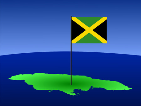jamaican: map of Jamaica and Jamaican flag on pole illustration Stock Photo