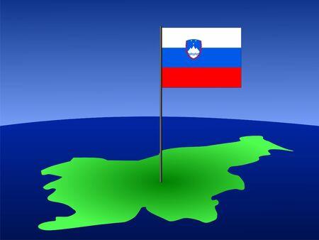 slovenian: map of Slovenia and Slovenian flag on pole illustration Stock Photo