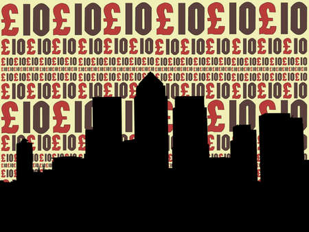 canary wharf: London Docklands Skyline with ten pounds currency illustration Stock Photo