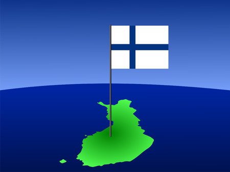 finnish: map of finland and finnish flag on pole illustration Stock Photo