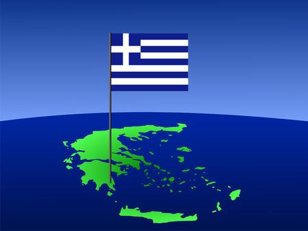 map of Greece and greek flag on pole illustration illustration