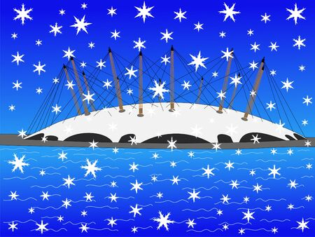 iciness: Millennium dome in winter with falling snow