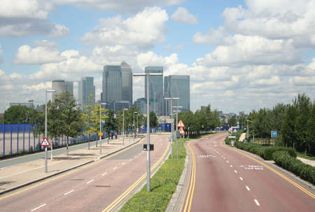 docklands: Road leading to London Docklands Stock Photo