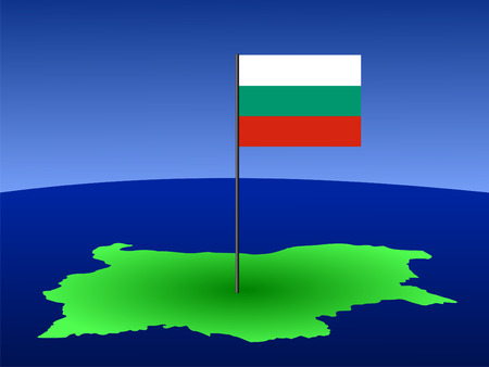 bulgarian: map of Bulgaria and Bulgarian flag on pole illustration