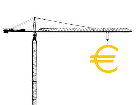 hoisting: highly detailed construction crane hoisting large euro sign Stock Photo
