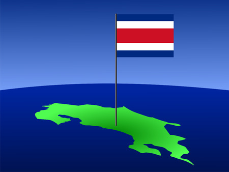 costa rican: map of Costa Rica and Costa Rican flag on pole illustration Stock Photo