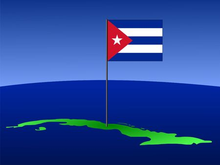 the cuban: map of Cuba and Cuban flag on pole illustration