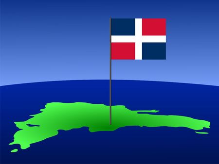 map of Dominican Republic and their flag on pole illustration illustration