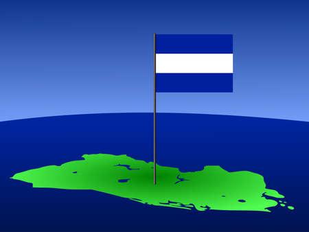 mapa de el salvador: mapa de El Salvador y su pabell�n en polo ilustraci�n