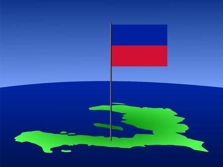haitian: map of Haiti and Haitian flag on pole illustration