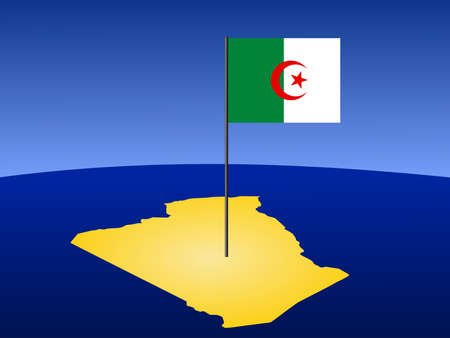 algerian flag: map of Algeria and Algerian flag on pole illustration