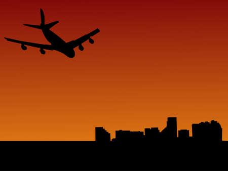 four engine plane arriving in Baltimore illustration illustration