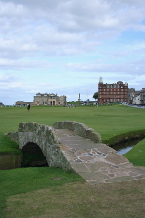 andrews: bridge on St Andrews golf course with Club House