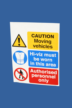 caution moving vehicles sign authorised personnel only Stock Photo - 1527584