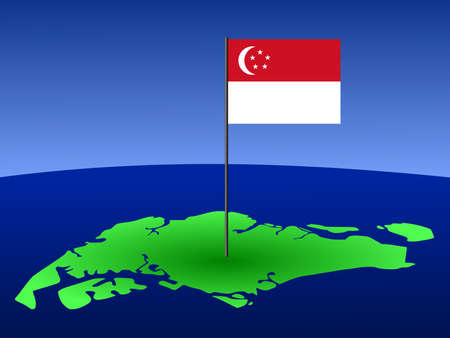 singaporean flag: map of Singapore and their flag on pole illustration Editorial