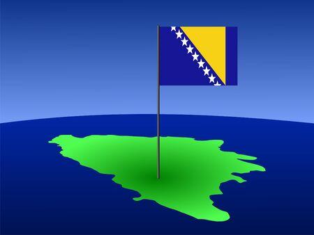 bosnian: map of Bosnia and Bosnian flag on pole illustration